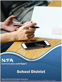 NSPRA Communication Audit Report cover showing a hand holding a pen